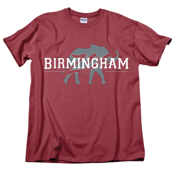 ADULT SHORT SLEEVE TEE BIRMINGHAM ZOO ELEPHANT ALABAMA RED