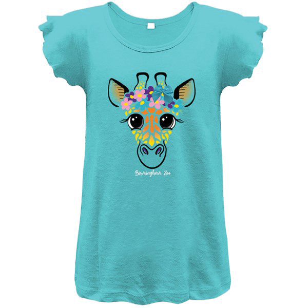 YOUTH GIRLS SHORT SLEEVE TEE GIRAFFE BOW TEAL