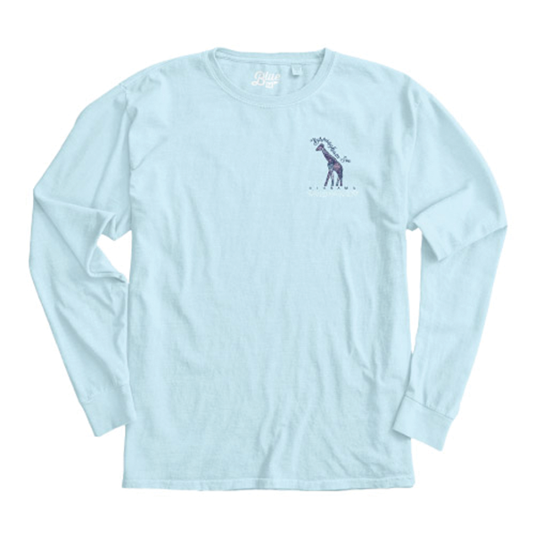 LADIES LONG SLEEVE OVER DYED TEE BUBBLING GIRAFFE-POWDER