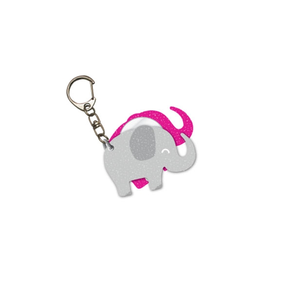 GLITTER ELEPHANT KEYCHAIN WITH MIRROR