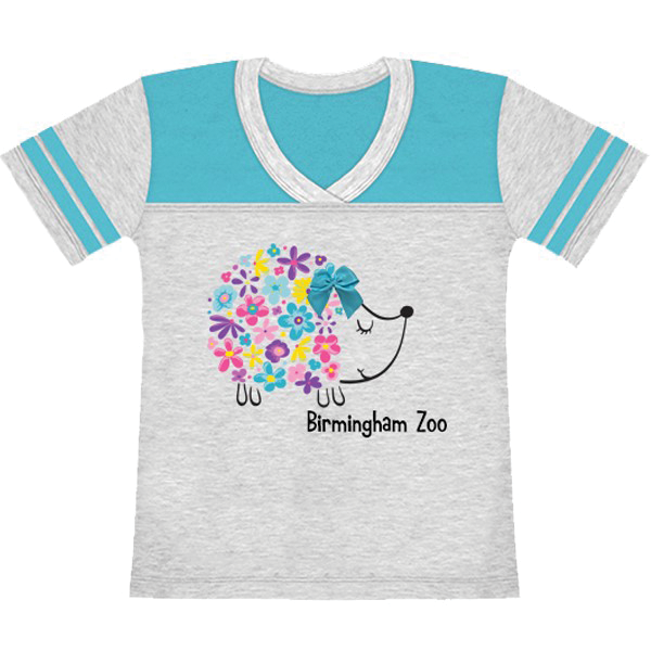 YOUTH GIRLS SHORT SLEEVE TEE HEDGEHOG BOW  HEATHER/AQUA