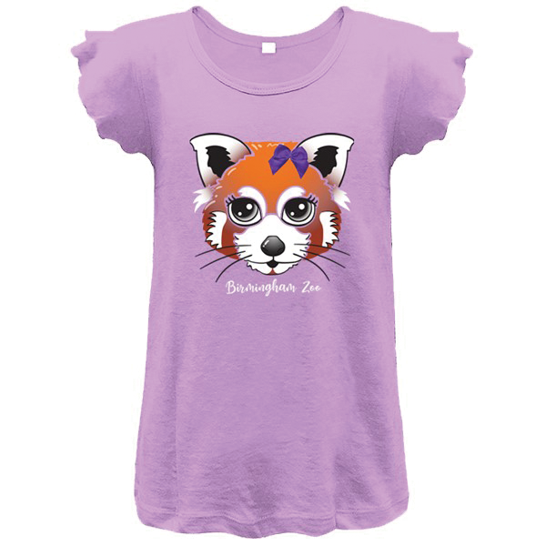 YOUTH GIRLS SHORT SLEEVE TEE RED PANDA BOW VIOLET