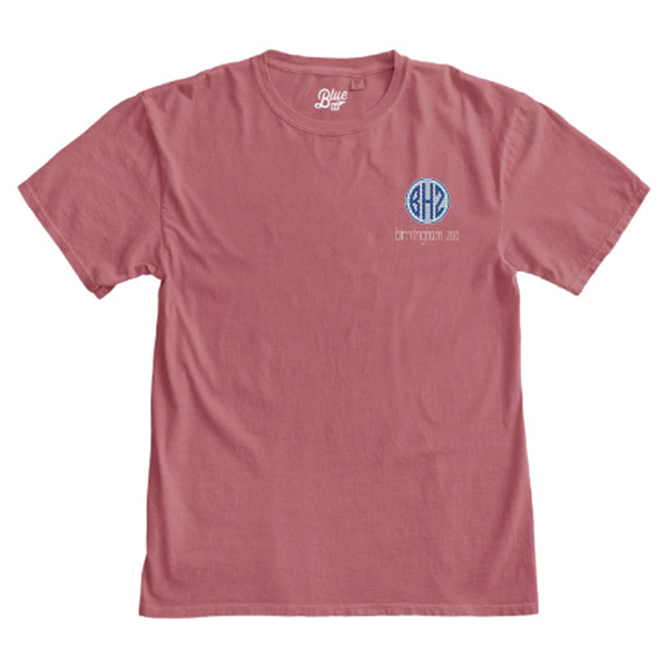 LADIES SHORT SLEEVE TEE MONOGRAM-DUSTY ROSE