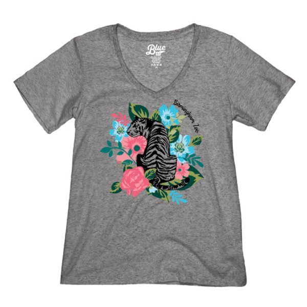 LADIES SHORT SLEEVE TEE FLORAL TIGER-HEATHER